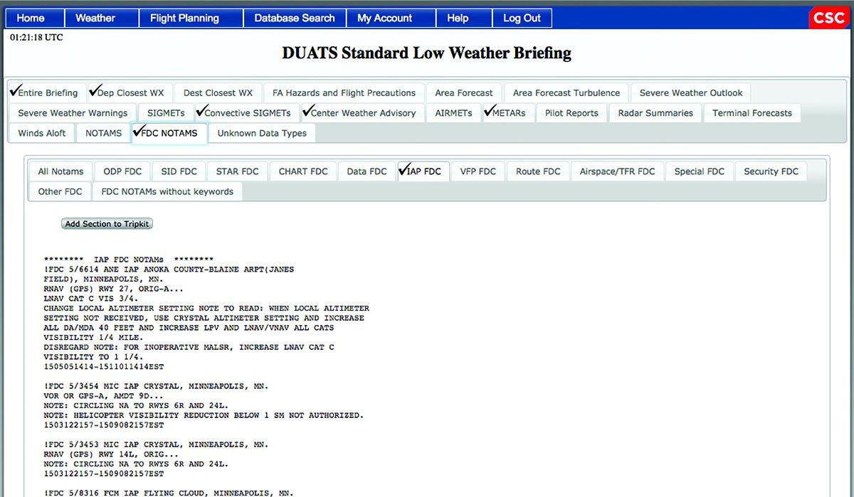 Aviation Weather Center DUATS briefing checklist