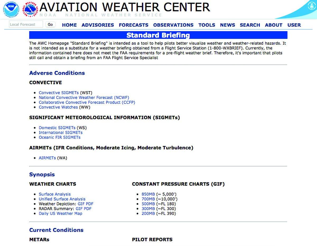 Aviation Weather Center standard briefing