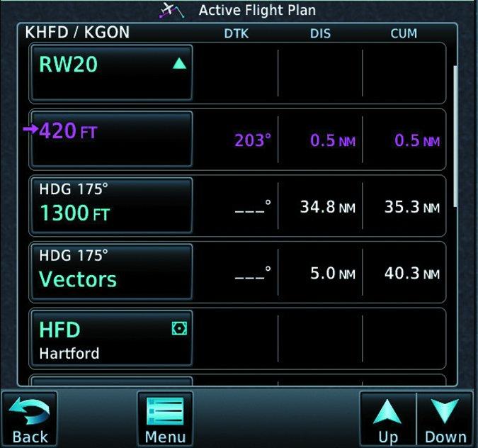 aviation GPS active flight plan screen