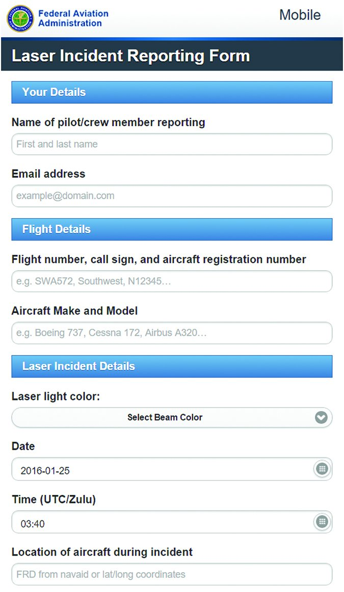 aviation laser incident reporting form