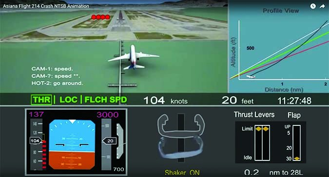 Asiana crash NTSB animation