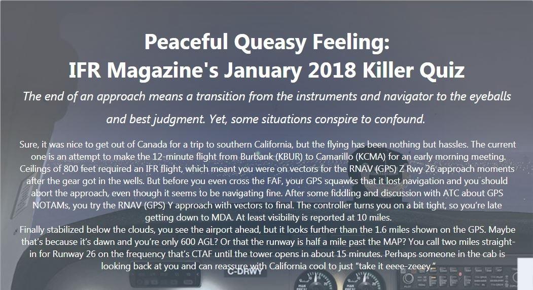 IFR quiz january 2018